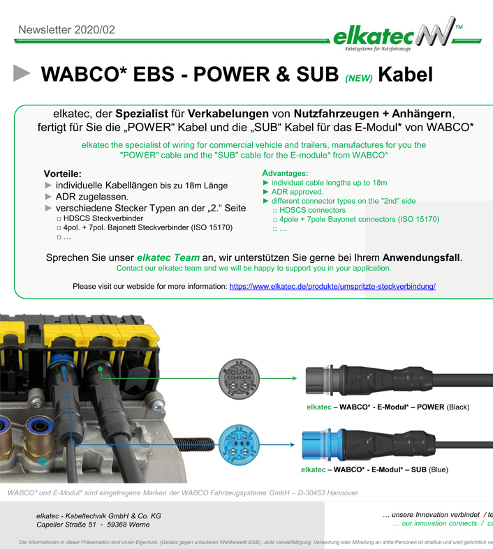 EBS Subsystems (SUB) Wabco E-Modul elkatec Subsystems Anschlusskabel EBS Wabco E-Modul